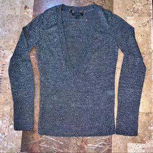 Women's SZ S EXPRESS V-neck Metallic Gray Sweater
